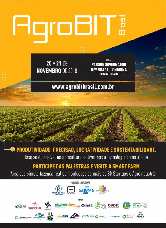 AgroBIT Brasil acontecerá nos dias 20 e 21 de novembro de 2018, no Parque Governador Ney Braga, em Londrina-PR.